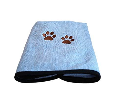 One Of A Kind Sales Hundehandtuch Weiches, schnell trocknendes Haustierhandtuch aus Mikrofaser, Warmes Badetuch für Hunde und Katzen 85 x 43.5 cm (Blau)