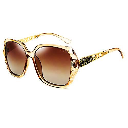 Leckirut Women Shades Classic Oversized Polarized Sunglasses 100% UV Protection Eyewear coffee...