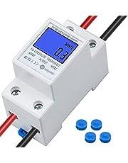 LCD enfas elmätare topphatt skena KWh meter 5 (80) A 230V 50HZ 1-fas 2-polig 2 p DIN-Rail el energimätare med digital display watt-timmätare
