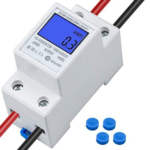 Contatore di corrente digitale LCD 5 (80) A contatore di corrente alternata per kwh 1 fase, 2 poli 2P DIN AC230 V misuratore elettronico digitale LCD per guida a scorrimento