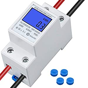 Contador Eléctrico Monofásico, 5(80) A, 230V, Contador Eléctrico Digital de 2 Hilos, 2 cables DIN KWh