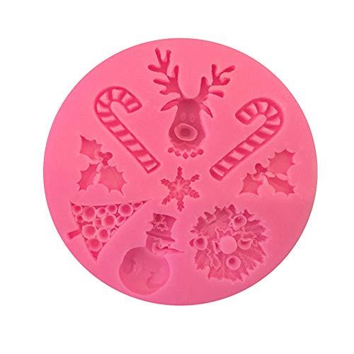 Dosige Weihnachten Elche Seifenformen 3D Silikonform Fondant Kuchenform für Backen Muffin Schokolade Süßigkei Eiswürfel 8.6 * 1cm