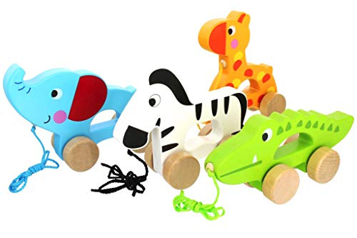 Pidoko Kids Pull Along Walking Toys - Bundle Toy Gift Packs Set of 4 Animals - Giraffe, Zebra, Elephant and Crocodile - Toys For 1 Year Old And Up - Toddler Babies Boys And Girls
