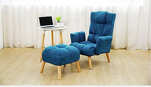 N&O Renovation House Sillón reclinable con Respaldo de sofá Individual Ajustable con reposapiés Cojín elástico con reposabrazos Bolsa de Almacenamiento Patas de Silla de Madera Maciza Azul