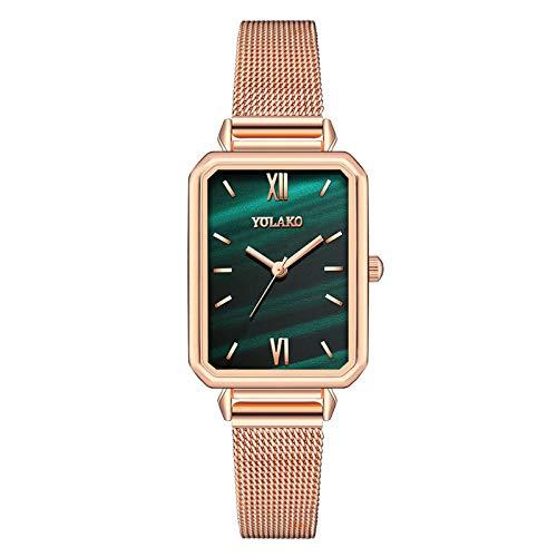JZDH Relojes para Mujer Reloj de Regalo de Acero Inoxidable de la Superficie del Vidrio de la Superficie de la Moda Casual de Las señoras. Relojes Decorativos Casuales para Niñas Damas (Color : A)