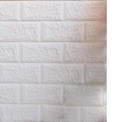 YNFNGXU 77X70cm 3D Ziegel PE Schaum DIY Wandaufkleber Isolierung Feuchtigkeit Selbstklebende Tapete (Color : White, Size : 40pack)