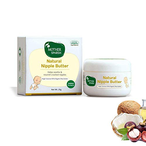 Mother Sparsh Nipple Butter Cream for Breastfeeding Moms, Virgin Coconut Oil and Organic Shea Butter (25gm)