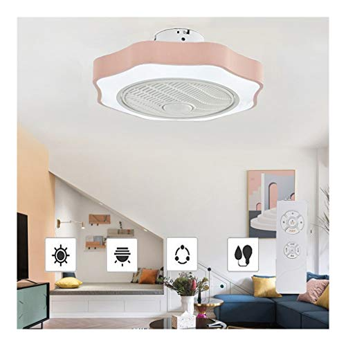 52cm Ronda Cool Plafondventilator met Lichten, 36w Hierro forjado Light Fan met Dimmer 3-kleuren Ceiling Fan Remote Control Indoor Kids Lighting (Color : Pink)