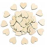 Confetes de madeira de 2 cm ULTNICE em formato de coração, artesanato, mesa de casamento, festa, confete, pacote com 50
