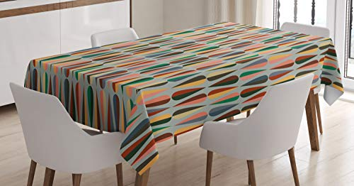 """Ambesonne Mid Century Tablecloth, Simple 2 Colored Drop Shapes Abstract Symmetrical Grid Greyscale Background, Dining Room Kitchen Rectangular Table Cover, 60"""" X 84"""", Pale Blue"""