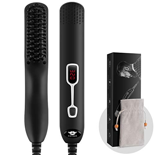 Cayzor Beard Straightener Comb for Men - Upgraded Professional Electric Mens Beard Straightening Heated Brush Portable Anti-Scald 5 Adjustable Temperatures & LCD Display with Carrying Bag