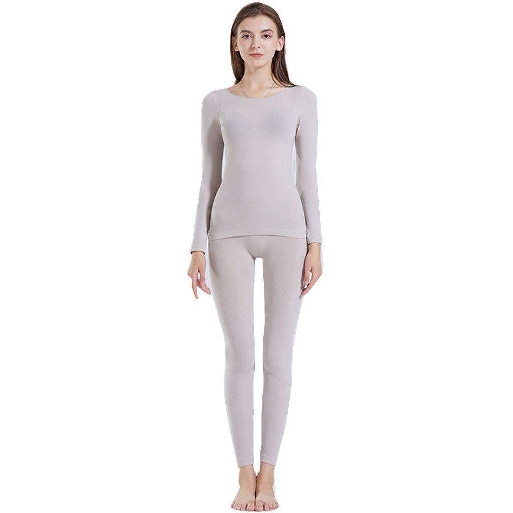 Women's Thermal Underwear Set,Round Neck Stretch Top & Bottom Ultra Thin Base Layer Long Sleepwear Set
