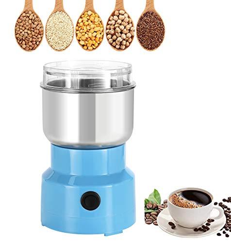 Moongiantgo - Molinillo de especias multifunción portátil eléctrico de acero inoxidable para granos, especias de grano seco, condimentos, granos de café (azul)