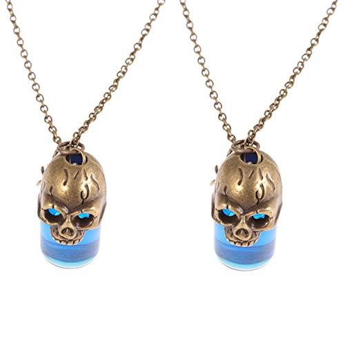 Amosfun Lot de 2 colliers avec pendentif tête de mort, style vintage, gothique, bouteille de sang, accessoires pour
