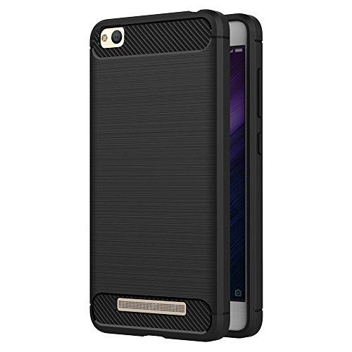 ivoler Hülle Kompatibel für Xiaomi Redmi 4A, Carbon Faser Case Tasche Schutzhülle mit Stoßdämpfung Soft Flex TPU Silikon Handyhülle - Schwarz