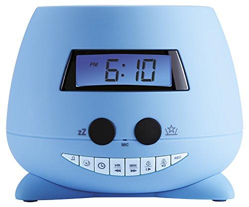 BigBen Interactive Teddy wekker met plafondprojector, blauw, 13,5 x 11 x 13,5 cm
