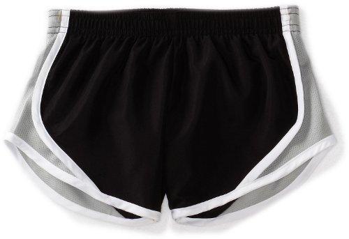 Soffe Big Girls' Team Shorty Short, Black/Silver, Small