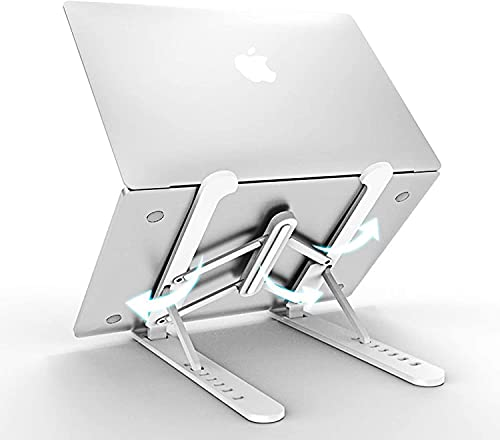 Foldable Laptop Stand Portable, Adjustable Ergonomic Aluminum Laptop Desk Stand, Non-Slip Computer Holder, Laptop Riser Compatible with MacBook Pro/Air and More Notebooks in 10'-15.6' - Silver