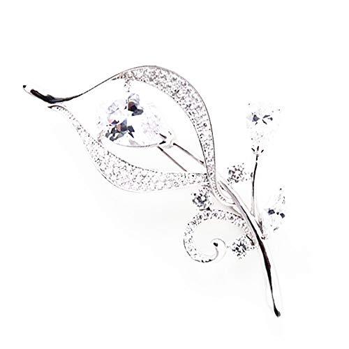 Hanie Damen Brosche Silber Blumen Anstecknadel Weiß Marquise Zirkonia kommt mit Edelstahl Kette können auch als Halskette tragen Passt Pullover Mantel Anzug Geschenk zum Geburtstag