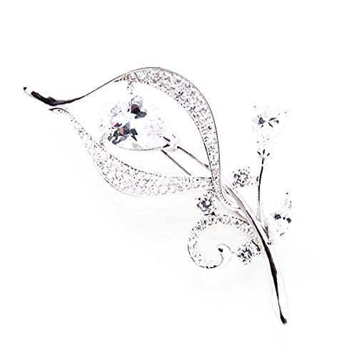 Hanie Flower Brooch for Women, Silver Pin Brooch with White Cubic Zirconia, Come with White Gold Plated Stainless Steel Chain, can Wear as Necklace Suitable for Sweater Coat, Perfect as