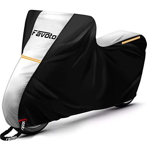 Favoto Funda para Moto Cubierta de Moto Scooter Bicicleta 210D Impermeable Protectora a Prueba de Sol/Lluvia/Polvo/Viento/Nieve/Hojas/Excremento de Pájaro al Aire Libre, 245x105x125cm Plata+Negro
