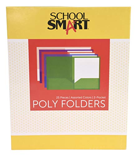School Smart 2-Pocket Portfolios Without Fasteners, 8-1/2 x 11 Inches, Assorted Colors, Pack of 25
