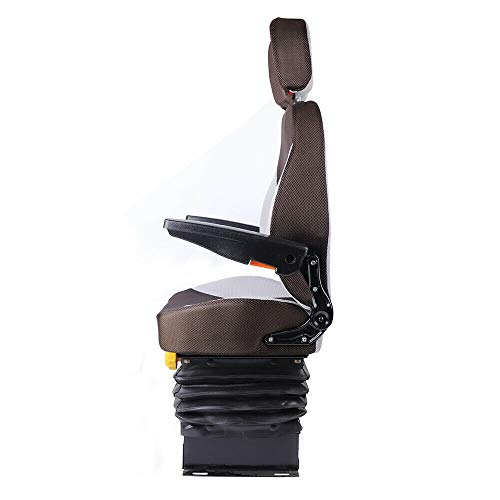 TBVECHI Tractor Seat, w/Suspension and Adjustable Backrest Headrest Armrest Dozer Seat Tractor Skid Steer Steel/PVC Frame for Tractor Forklift Excavator
