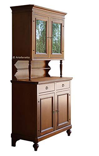 Artigiani Veneti Riuniti Anrichte mit Aufsatz Landhausstil für Hauseinrichtung, Stilmöbel aus Holz Anrichte 2 Holztüren + Vitrine 2 Glastüren, Made in Italy.