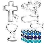 6 Piezas Moldes Galletas,Cortador de Galletas Cruz,Moldes para Galletas de Pascua,Formas para Galletas con 48 Piezas Pegatinas,para Comunión,Confirmación,Bautizo