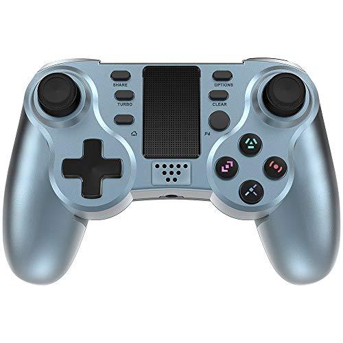 PowerLead Game kontroller für PS4, Wireless Gaming Controller 6 Achsen Dual Vibration Shock Gamepad für Playstation 4 / Playstation 3 / PC mit LED-Touchpad und Audio-Buchse