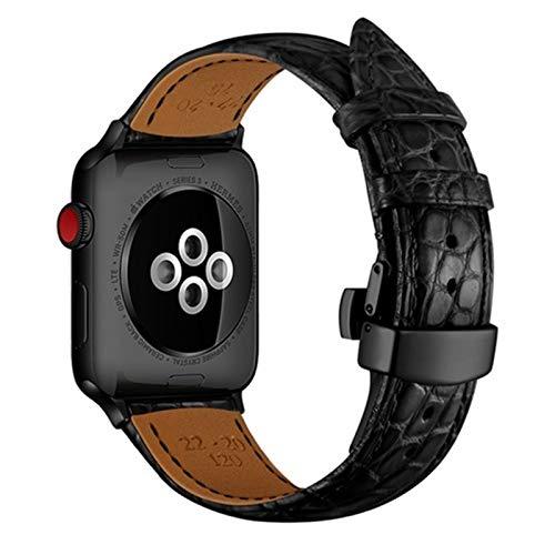 ZLRFCOK Correa para Apple Watch Band 5 4 44mm 40mm Francia cocodrilo Correa de cuero genuino para iwatch band 3 2 42mm 38mm Top Proceso pulsera Correa de reloj