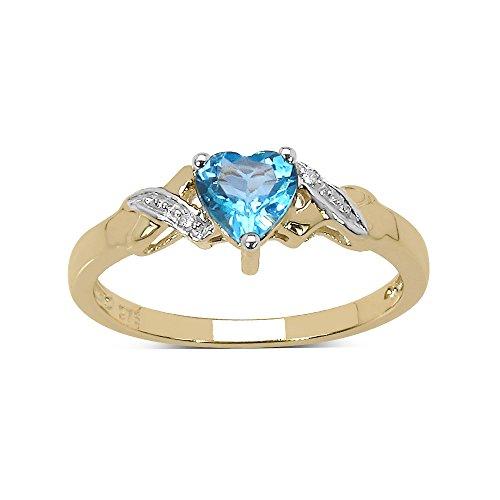 La Colección Anillo de Topacio: Anillo Oro de 9ct con forma corazón de Topacio Azul y set de Diamantes, Anillo de compromiso, Perfecto para Regalo talla 20