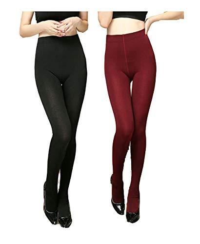 Yulaixuan 2 pares de mujeres calientan pantalones extra grandes y alargan sudaderas pantimedias gruesas para medias de invierno leggings (pantimedias rojo vino y azul oscuro)