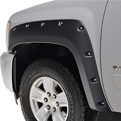 KML Black Fender Flare Pocket Rivet Style Styleside Fit for 07-13 Chevrolet Silverado 1500/2500/3500 (6.5 & 8 ft Bed)