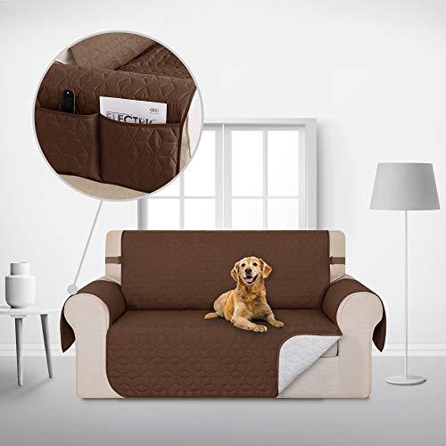 Deconovo Copridivano 2 Posti Trapuntato con Tasche Telo Copri Divano Antiscivolo Protegge Il Mobile per Cani/Gatti Letto Cioccolato