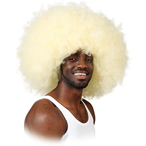 NET TOYS Perruque Afro Super Perruque de Carnaval Blonde Jimmy Perruque Afro Perruque de Carnaval Unisexe Look Rasta Perruque de Carnaval