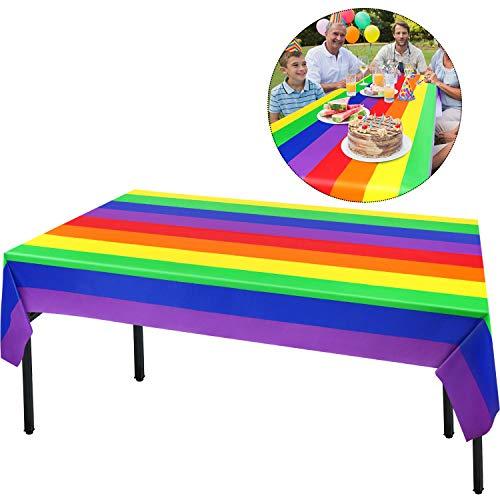 2 Regenbogen Tischdecke Regenbogen Party Dekoration, Regenbogen Geburtstag Dekoration Party Zubehör Tischdecke für Einhorn Party, 107,8 x 53,9 Zoll