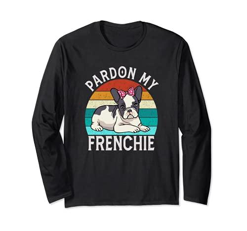 Vintage Pardon My French Female Frenchie Yoga French Bulldog Long Sleeve T-Shirt