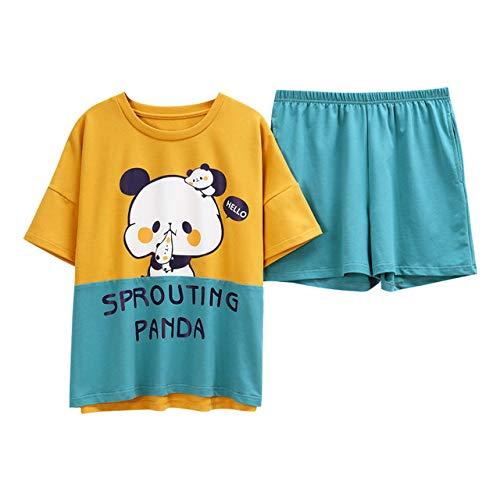 XUHRA vrouwen pyjama, katoen nachtkleding dames patchwork-stijl pyjama losse pyjama's set ronde hals Home Wear pak pyjama Lounge Wear