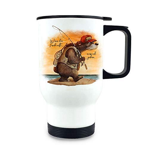 ilka parey wandtattoo-welt Thermobecher Isolierbecher Angeler Bär Angel Spruch Wenn der Fisch Ruft Kaffeebecher Geschenk tb252