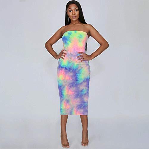 Hübsche Kleid Kleider Dress Damen Frauen Trägerloses Kleid Weiblich Sexy Ärmellos Ohne Schulterkleid Mädchen Kleidung -C_M