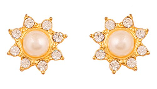 Touchstone Austrian Diamonds With Pearl Earring For Women