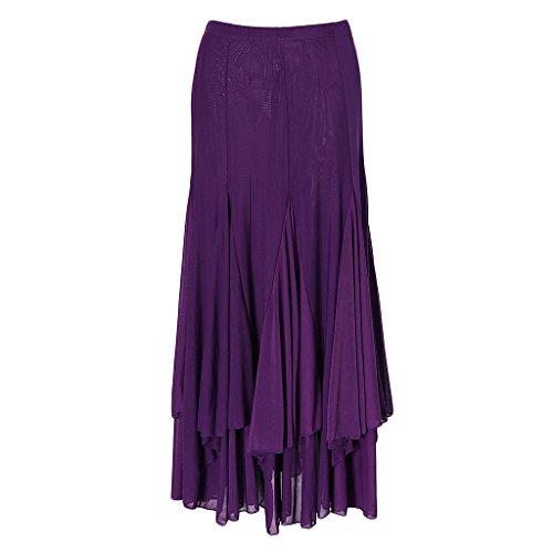 IPOTCH Falda Larga para Mujer, Diseño de Cuadrado Malla para Baile Tango Flamenco Latín, Opción para Bailarinas - Púrpura, Único