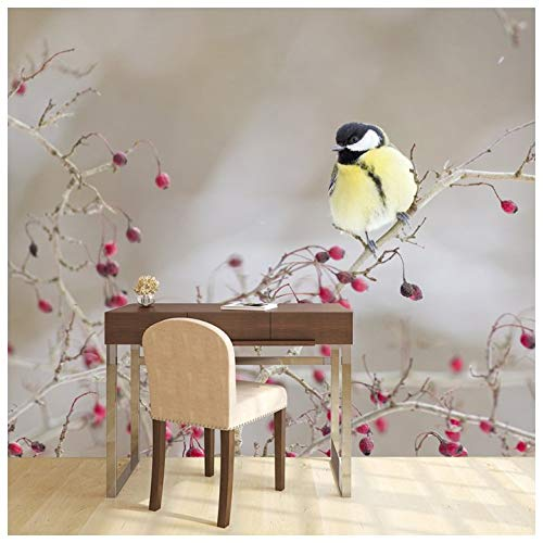 azutura Pinke Blumen Fototapete Gelber Vogel Tapete Mädchen Schlafzimmer Wohnkultur Erhältlich in 8 Größen Extraklein Digital