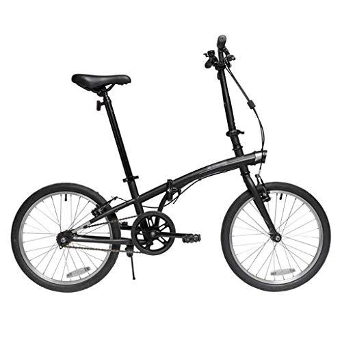 Paseo Bicicleta Plegable 20 Hombres Mujeres Pulgadas Y Luz del Coche Portátil De Ciudad del Viajero Viaje De La Bicicleta Hombres Y Mujeres Plegable (Color : Black, Size : 20inches)