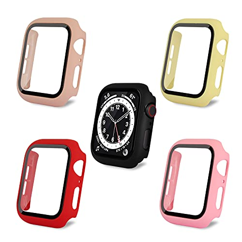 AOTUAO Funda Compatible con Apple Watch Serie 6 SE 5 4 44mm, Estuche Rígido Delgado PC Protector de Pantalla Cristal Templado para iWatch, 4Piezas Rojo Bean Pink Rosa Amarillo