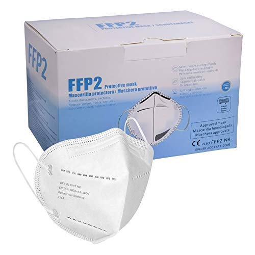 Mascarilla FFP2 CE 2163, Mascarilla de Protección Personal homologada. 5 capas. Alta Eficiencia Filtración BFE de 95%, (20 piezas blanca))