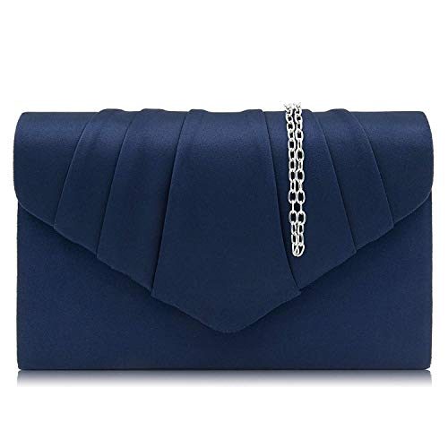 Milisente Clutch Purses For Women Suede Pleated Evening Bag Bridal Evening Clutch Bag (Navy)