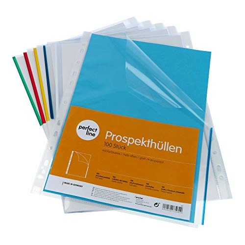 perfect line 100 Prospekt-Hüllen DIN-A4 halb offen, mit buntem Rand, Sammel-Taschen glasklar & transparent, extra starke Klar-Sicht-Folien (105 µ) zum Schutz von Papier, Akten & Dokumenten für Ordner