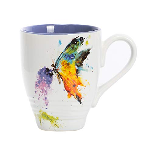 DEMDACO Kaleidoscope Butterfly Watercolor Blue 16 Ounce Glossy Stoneware Mug With Handle